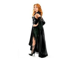 Hot Selling High Quality Halloween Costume Vixen Vamp Party Dress with Cape and Sleeves Set