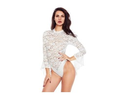 White Sheer Floral Lace Long Bell Sleeve Bodysuit for Sexy Women