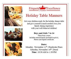 Holiday Manners and Table Etiquette for Children