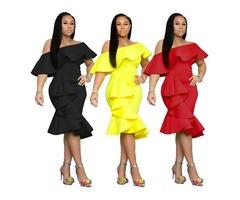2019 newest sexy women off shoulder fashion irregular hem dress