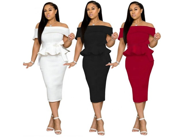 New arrival women fashion sexy solid color off shoulder midi bodycon dress  | free-classifieds-usa.com