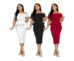 New arrival women fashion sexy solid color off shoulder midi bodycon dress