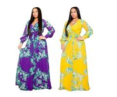 Fashion women floral printed long sleeve maxi dress 2019
