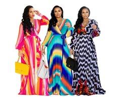 2019 Women High Quality Long Sleeve Printed Sexy V Neck Maxi Dress