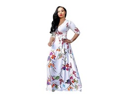 New design fashion women 3/4 sleeve v neck floral printed maxi dress 2019