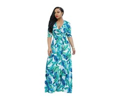 New design fashion women 3/4 sleeve v neck floral printed maxi dress 2019 | free-classifieds-usa.com