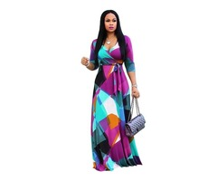 Hot selling 3/4 sleeve women floral printed V neck sexy maxi dress 2019