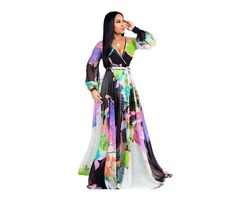 HESSZ Women Sexy V Neck Long Sleeve Floral Printed Dress