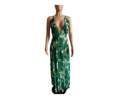 Latest design women sexy strapless sexy v neck backless chiffon maxi dress