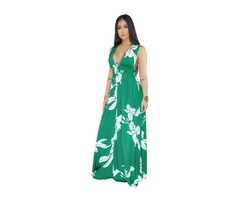 2019 Ladies sexy V neck backless floral printed maxi dress