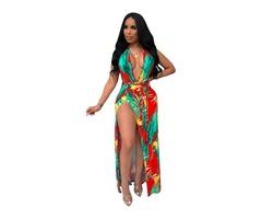 New design women sexy split floral printed maxi dress