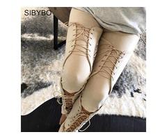SIBYBO SUEDE BODYCON BANDAGE PANTS WOMEN