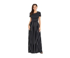 New design white striped black short sleeve boho sexy maxi dress