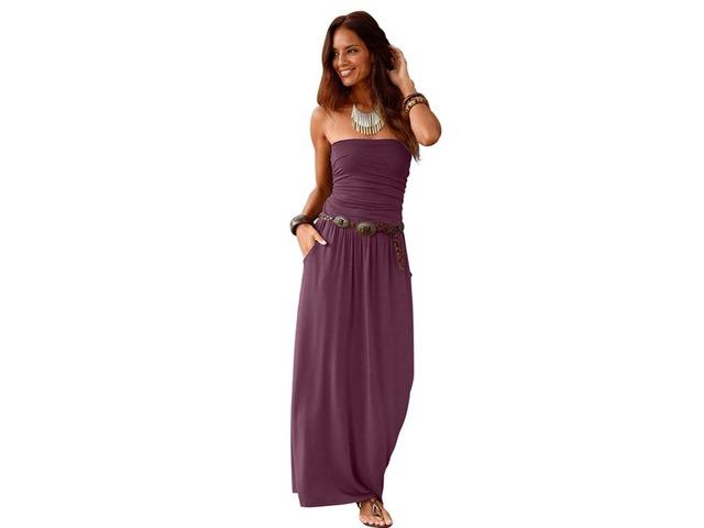 Strapless bodice empire waist long backless maxi dress casual women  | free-classifieds-usa.com
