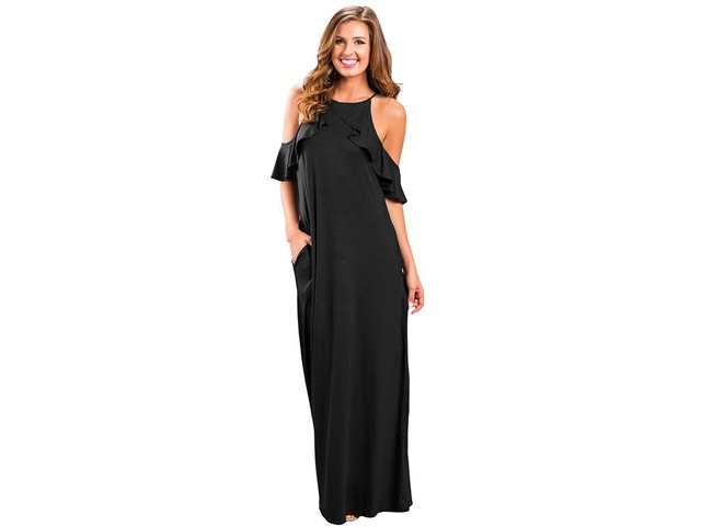 New design black ruffle sleeve cold shoulder sexy maxi dress | free-classifieds-usa.com