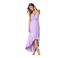 High quality V neck ruffle trim Hi-low women elegant maxi dress casual
