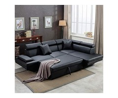Sofa Set Leather Futon Sleeper Couch Bed Modern Contemporary Upholstered