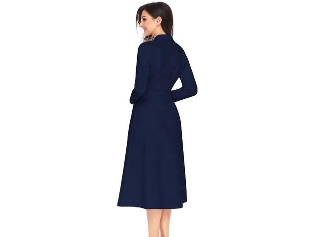 High Quality V Neck Women High Waist Button Vintage Dress 2019 | free-classifieds-usa.com