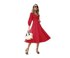 Stylish Sexy Women Balloon Sleeve Vintage Dress