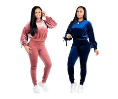 Women Velvet Material Long-Sleeved T-Shirt Tight Pants Tracksuit Casual Suit Two-Piece