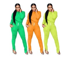 Two Piece Sweatsuit Round Neck Pullover and Skinny Long Pants