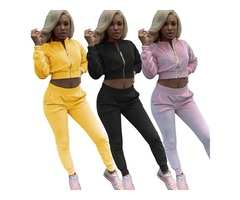 New Women's tracksuits Zipper Crop Tops And Pants Two Piece Set Women Zipper Sweatshirt Sweat Suits