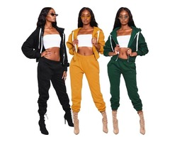 Womens 2 Piece Outfits Long Sleeve Full Zip Hoodie Jacket Sweatsuit Joggers Sportswear Tracksuit Set