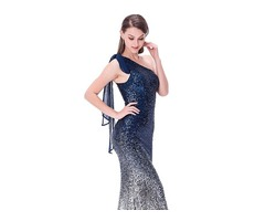 Blue Gradient One Shoulder Sequin Women Long Dresses Evening Girl Party Dress