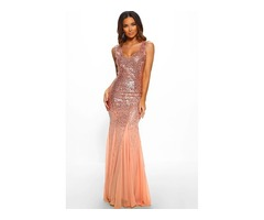 Oscar Night Pink Sequin Dress Women Sexy Sequin Maxi Dress