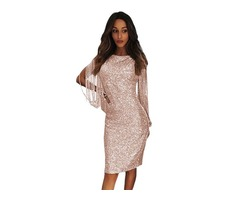Nude Sequin Tassel Sleeve Women Evening Bodycon Dresses Bodycon Evening Dress