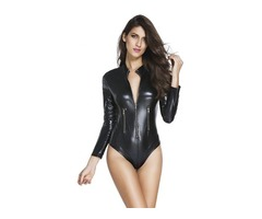 Hot Selling New Design Long Sleeve Black Leathery Zip Up Bodysuit For Women