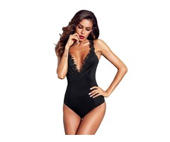 High Quality Fashionable Black Crochet Plunge Sexy Bodysuit Women Stretch Bodysuits
