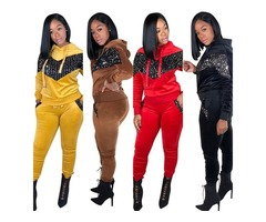 Tracksuit Sets Womens 2 Piece Sweatsuits Velour Pullover Hoodie & Sweatpants Jogging Suits Outfi