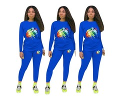 Womens Sexy Lips Print 2 Piece Outfit Sports Long Sleeve Shirt Bodycon Pants Joggers Tracksuit Sport