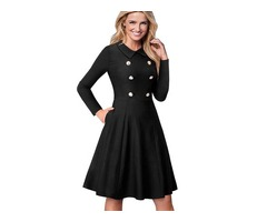 Latest Women Fitness Double Breasted Vintage Flared Dress