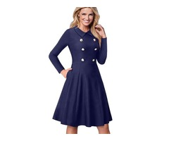 Classic Fitness Women Indigo Double Breasted Vintage Flared Dress