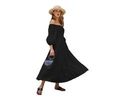 2019 New Design Black Off Shoulder Puff Sleeve Button Front Vintage Dress