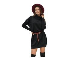 Sexy Women Knitted Long Sleeve Dress Cowl Neck Lightweight Sweater Dress