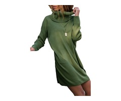 HESSZ New Design Ladies Long Sleeve Sexy Dress Cowl Neck Women Sweater Dress
