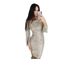 Women Sexy Sequin Glitter Bodycon Stretchy Mini Party Dress