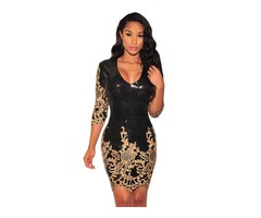 Hot Selling Black Victorian Gold Sequins 3/4 Sleeve Bodycon Dress