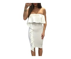 Women Sexy Off Shoulder White Bodycon Dress