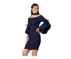 Top Selling Sexy Off Shoulder Lacing Long Sleeve Navy Bodycon Dress