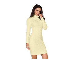 Newest Women Cable Knit High Neck Sweater Dress