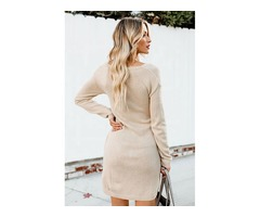 Hot Selling Women V Neck Long Sleeve Knitted Bodycon Sweater Dresses | free-classifieds-usa.com
