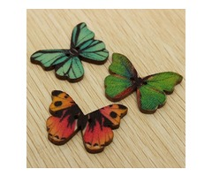 100pcs Mixed Butterfly Wooden Children Garment Sewing Buttons