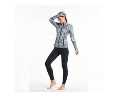 HESSZ Fitness women fashion zipper sports wear ladies sand collar with thumb hole yoga jacket
