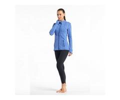 Women fashion thumbhole sports jacket with zipper pocket breathable active yoga jacket