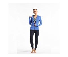 Women fashion thumbhole sports jacket with zipper pocket breathable active yoga jacket  | free-classifieds-usa.com