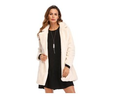 New design high quality outwear solid winter warm coat long sleeve with pocket overcoat for women